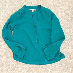 Lauren Conrad Green Blue Blouse Gold Buttons